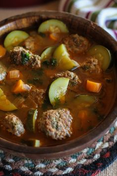 Albondigas Soup - a classic Mexican meatball soup | TheRoastedRoot.net #healthy…