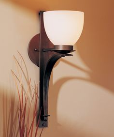 Direct wire wall sconce with glass options: Tapered Pierced Hubbardton Forge