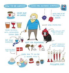 "Cute Art Print ""How to be Swedish"" - Art print by messy my. $18.00, via Etsy."
