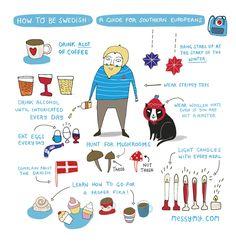 "Cute Art Print ""How to be Swedish"" - Art print by messy my. $18.00, via Etsy."