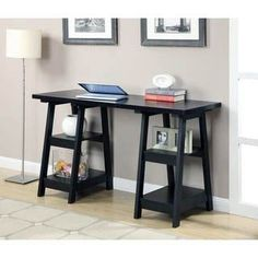 Double Trestle Desk in Black Finish - Convenience Concepts Double Trestle Desk by Convenience Concepts, Inc. has a variety of key features. With Four fixed shelves that provide plenty of space for the extras - such as files, books, Home Office, Office Desk, Hack Ikea, Ikea Linnmon, Trestle Desk, Double Desk, 4 Shelf Bookcase, Getting Organized At Home, Contemporary Desk