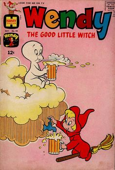 "cryptofwrestling: ""Casper and Wendy having a brew? Wendy The Good Little Witch "" Old Comic Books, Vintage Comic Books, Vintage Cartoon, Vintage Comics, Comic Book Covers, Retro Wallpaper, Aesthetic Iphone Wallpaper, Cartoon Wallpaper, Bedroom Wall Collage"