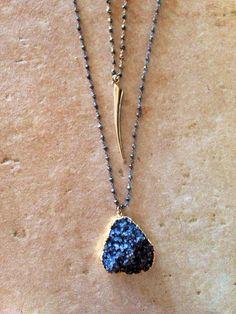 Dark druY stone necklace set by DeborahBrewerJewelry on Etsy, $179.00