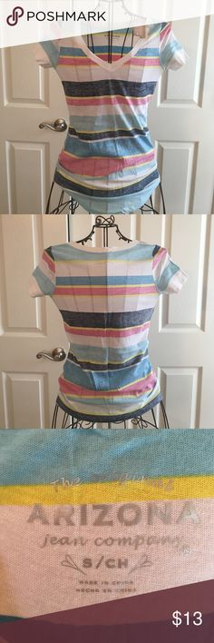 Arizona Striped Top Super Cute V-Neck by Arizona! It has light Blue, Pink, Yellow and Gray Stripes across! It looks like it is inside out that's why I could never wear it 😂 Brand New! Never Worn! Open to Offers!🤑 No Trades!🚫 Arizona Jean Company Tops Tees - Short Sleeve