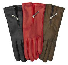 Women's Winter Italian Merino Wool Lined Lambskin Gloves with Zipper