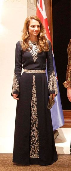Queen Rania at a dinner to celebrate the visit of the Governor General of New Zeland to Jordan