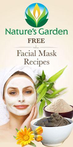 Free Natural Facial Mask Recipes from Natures Garden.  #facialmask