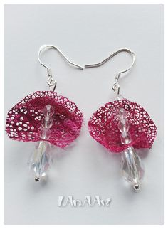 FUCHSIA Silk & Crystals Silver Sterling hooks earrings  by LanAArt