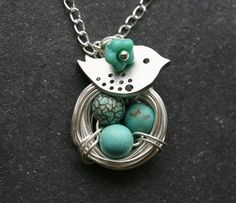 Bird and Nest Turquoise Jasper Eggs sterling silver Necklace $29.50