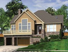 plan 23372jd: 3 bed house plan for front sloping lot | house