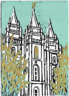Salt Lake Temple linocut Wheat and Tares 5 x by happylittleartist, $9.00