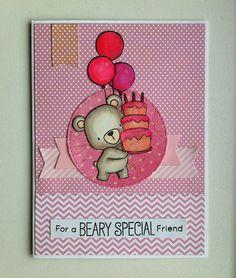 Card critters cake balloons MFT bear #balloon MFT Beary special birthday stamp set die-namics #mftstamps - JKE