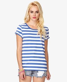 Striped Cuffed Sleeve Tee   FOREVER21 - 2049257171
