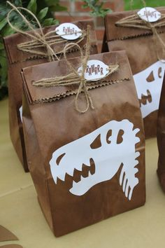 t-rex favor bag/dinosaur party favor/dinosaur birthday party/t-rex birthday part. - t-rex favor bag/dinosaur party favor/dinosaur birthday party/t-rex birthday party/dinosaur party de - Birthday Party At Park, 4th Birthday Parties, Birthday Party Decorations, Table Decorations, Party Favors For Kids Birthday, 4th Birthday Party For Boys, Diy Dinosaur Party Decorations, Third Birthday, 1st Birthday Party Ideas For Boys