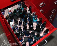 Rubberized shelf liner keeps my #nailpolish from sliding in my Helmer