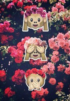 Monkey emoji flower wallpaper!                                                                                                                                                                                 Más