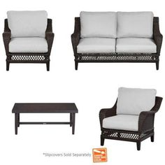 Hampton Bay Woodbury 4-Piece Patio Seating Set with Custom Cushion-DY9127-4PC-B - The Home Depot. I love these with the Cilantro colored cusions!