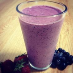 Berry (Protein-Packed) Smoothie  1 c frozen mixed berries (source of anti-oxidants)  1 small frozen banana  6 oz 0% fat yogurt (consider using Greek yogurt for more protein)  1 c unsweetened almond milk   1 TBSP honey    Add all ingredients into a blender and puree until smooth.  Serve and enjoy!