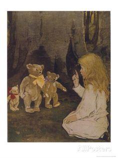 Goldilocks Gives Three Teddy Bears a Talking-To Stampa giclée di Jessie Willcox-Smith su AllPosters.it