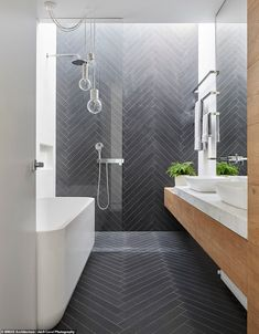 Tiny house bathroom remodels ideas are something that you need to scale your bathroom up to the next level. In this case, I have some tiny house bathroom remodel ideas that you may try to remodel your bathroom design. Modern Small Bathrooms, Small Bathroom Tiles, Modern Master Bathroom, Bathroom Tile Designs, Tiny House Bathroom, Contemporary Bathrooms, Modern Bathroom Design, Bathroom Flooring, Bathroom Interior Design