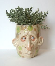 Nervous Ned Planter with huge ears One of a by MakingFacesPottery, $45.00
