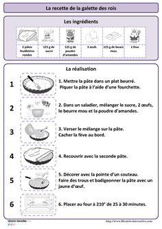Une recette simple de la galette des rois, plusieurs affiches et des documents p�dagogiques pour l'exploiter en maternelle (PS MS et GS) et au cycle 2 (CP et CE1)