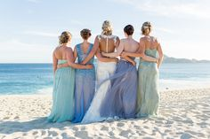 Gorgeous colors for bridesmaids dresses. Cabo Wedding Photographer | Destination wedding photography by Daniela Ortiz