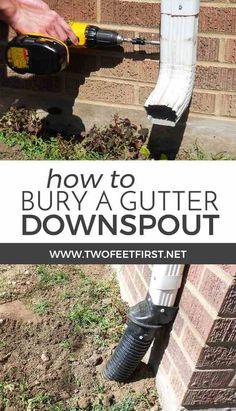 Have you thought about where the water from your gutter are draining, it could be into your house. Here is how to bury a gutter downspout to move the water away from the house. home maintenance How to Bury a Gutter Downspout Backyard Drainage, Landscape Drainage, Backyard Projects, Outdoor Projects, Diy Projects, Drain Français, Drain Tile, Drainage Solutions, Drainage Ideas
