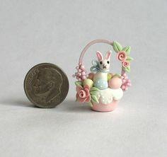 Handmade Miniature Easter Shabby Rose Bunny in Egg Basket OOAK Art by C Rohal | .