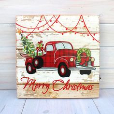 LiT Christmas Sign Rustic Vintage RED TRUCK Christmas Tree