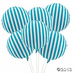 Turquoise Striped Mylar Balloons. Would be so cute for a nautical theme or baby boy shower!!