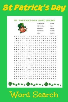 This word search is the perfect St. Patrick's Day activity for kids to keep them busy and get them learning!