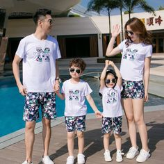 New Summer Fashion Family Matching Outfits mother daughter father son Sets cotton White short sleeve T shirt & Blue Shorts Pants