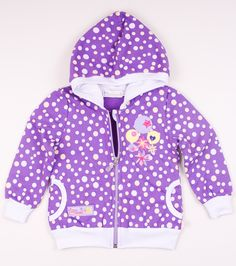 Blouse with hood. Made of 100% cotton. Zip fastening at front, two pockets. Pattern with yellow and violet dots and with beautiful motif on the front. Ribbed cuffs and hem. Material is safe in contact with sensitive skin of your baby.