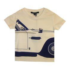 Aston Martin Baby Boys White T-Shirt With Big Blue Car Print #tiddlywinksbens