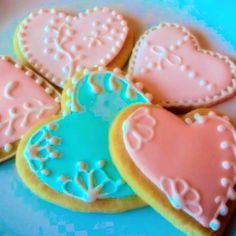Heart Decorated Sugar Cookies by SugarLoveAndHappines on Etsy