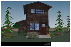 The Ladder House is a two story, narrow lot house well suited for a cold climate.