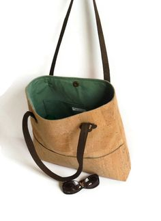 #Cork Bag #Natural #Ecofriendly Large Shoulder Bag by MyCottonHouse