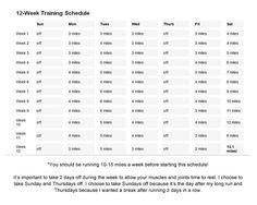 12 Week Training Schedule for Half Marathon