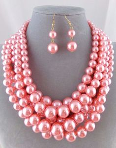 Chunky Layered Pink Pearl Necklace Set Silver Fashion Jewelry NEW #Passion