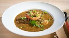 No roux seafood gumbo with gumbo crabs and lots of okra - use 2 pounds frozen when fresh is out of season.