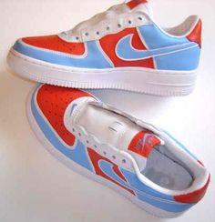 competitive price 312ba 74a99 Buy REMIXDAKICKZ Orange Lt Blue Custom Painted AF1 Sneakers - Customized  Nike Air Force One Sneakers at hiphopcloset.com