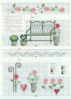 0 point de croix grille et couleurs de fils banc de jardin et pot de fleurs