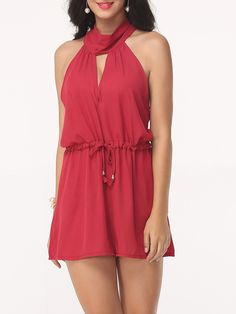 Hollow Out Plain Alluring Jumpsuits