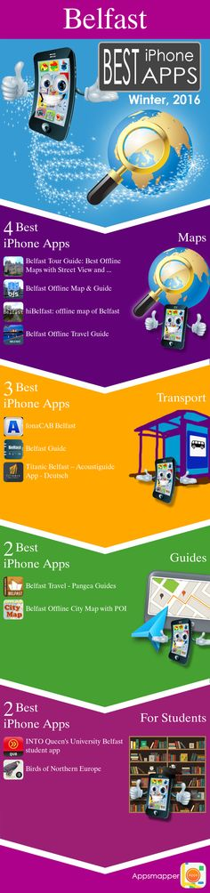 Belfast iPhone apps: Travel Guides, Maps, Transportation, Biking, Museums, Parking, Sport and apps for Students.