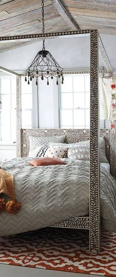Bone Inlay Four Poster Bed | Anthropologie