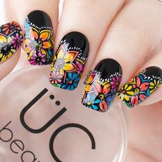 That's why we're bringing you our series -- where we show you the simple nail art, endless nail design ideas and other ridiculously pretty nails that we're finding and loving. Fancy Nails, Cute Nails, Pretty Nails, Flower Nail Designs, Acrylic Nail Designs, Mexican Nails, Luxury Nails, Best Acrylic Nails, Elegant Nails