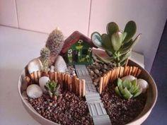 Succulent Planter Diy, Succulent Gardening, Garden Terrarium, Succulent Arrangements, Succulents Garden, Mini Fairy Garden, Fairy Garden Houses, Dish Garden, Cactus Y Suculentas