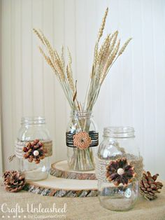 Tutorial on How to Create Pine Cone Flower Embellished Mason Jars Perfect for Fall and Thanksgiving Decorating and Home Decor!