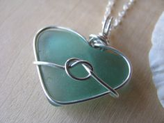 Teal Sea Glass Heart Sterling Love Knot Beach by BostonSeaglass, $75.00